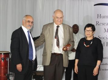 Professor van Onselen, HSRC CEO Professor Soudien, HSRC Board Chair Nasima Badsha